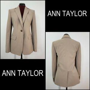 Ann Taylor Women Pinstripe Blazer Suit Size 4 Tall